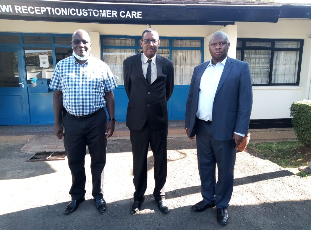 Prof . Mohamed Elmi Chancellor Rongo University with the Director, Prof. Patrick Hayombe and Deputy Director Corporate Serivces, Mr. K. Riaga